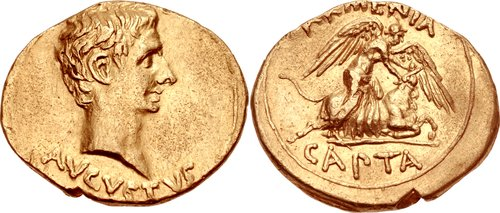 Roman Gold Aureus of Augustus (27 B.C.E.-14 C.E.), Struck in 19 BC, in celebration of victory over Armenia (Armenia Capta)