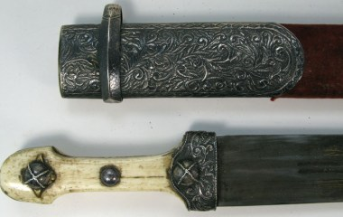 Armenian kindjal dagger with ivory grip, silver mountings, and a gold inscribed blade. (handle and scabbard)