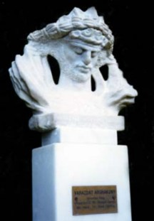 Marble bust of King Varazdat by sculptor Levon Tokmajyan installed in Olympia, Greece, in 1998.