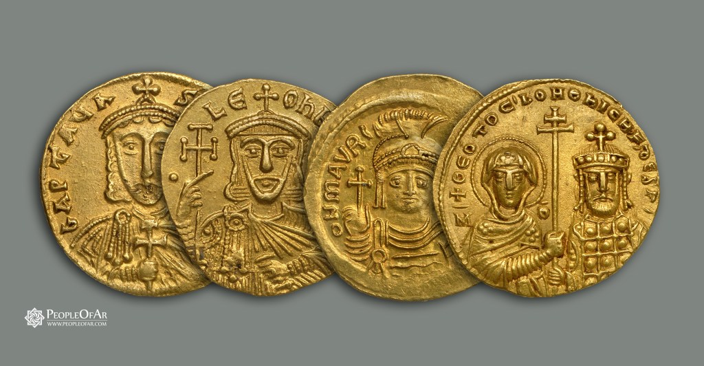 Byzantine Emperors of Armenian descent on gold coin