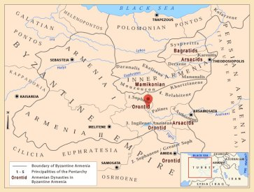 Map of Byzantine Armenia, 5th-6th century AD. The marker shows the place of the discovery of the large Karas vessel.