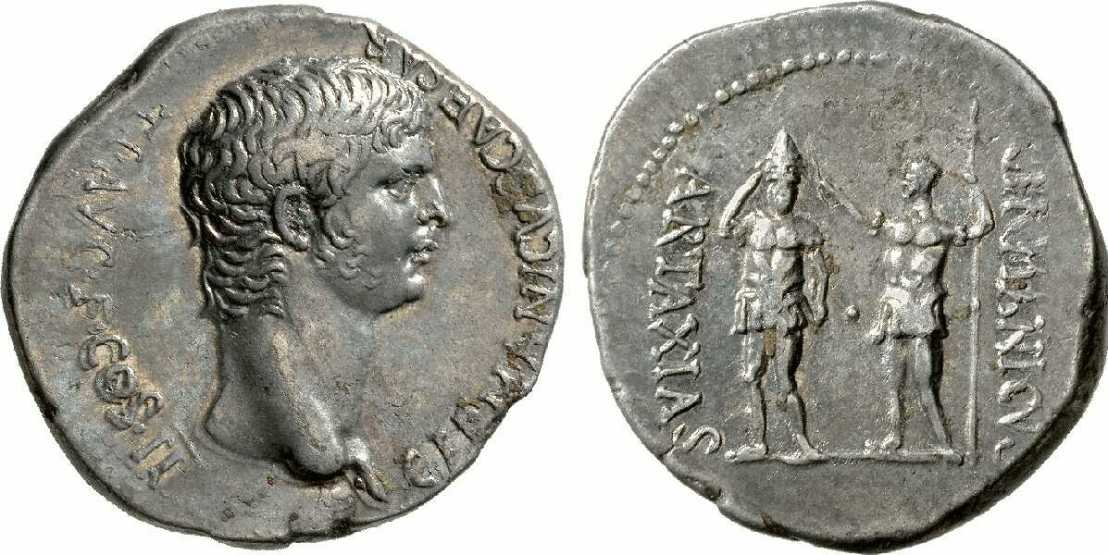 Germanicus crowning Artaxias by placing the Armenia Tiara on his head. 15 BC – 19 AD.