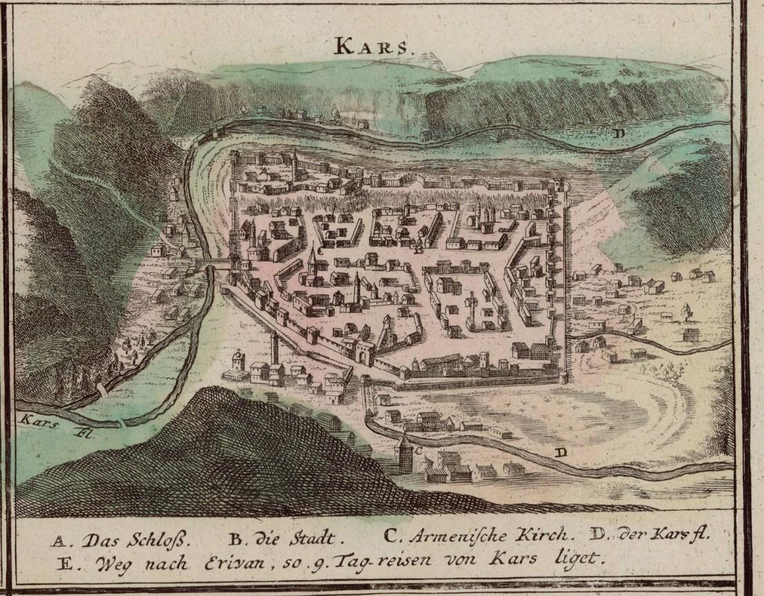 Kars illustrated by Johann Baptist Homann (1663-1724)