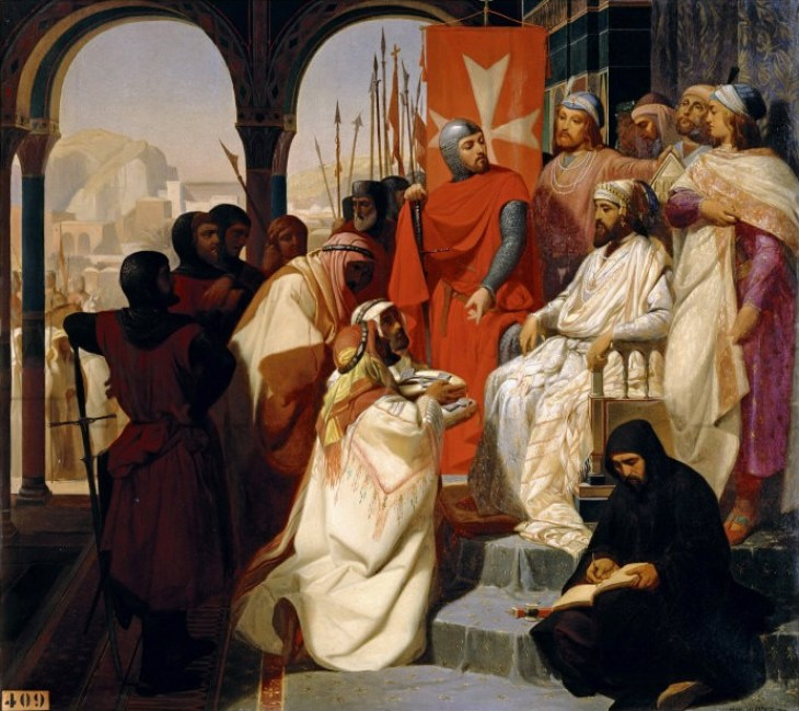 Constantin III of Armenia on his throne with the Hospitaller, painting by Henri Delaborde,1844.