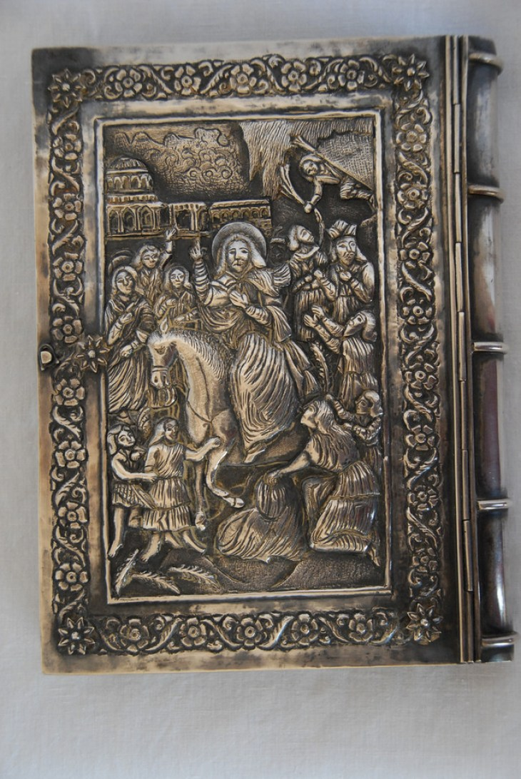 The 1868 Four Gospels printed in Jerusalem with a very heavy solid silver binding.