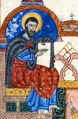Movses depicted in a 14th-century Armenian manuscript
