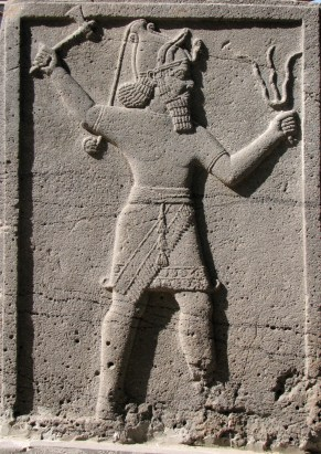 Teshub decorating at a Hittite temple. circa 3000BCE . Now at museum - Gaziantep, Turkey