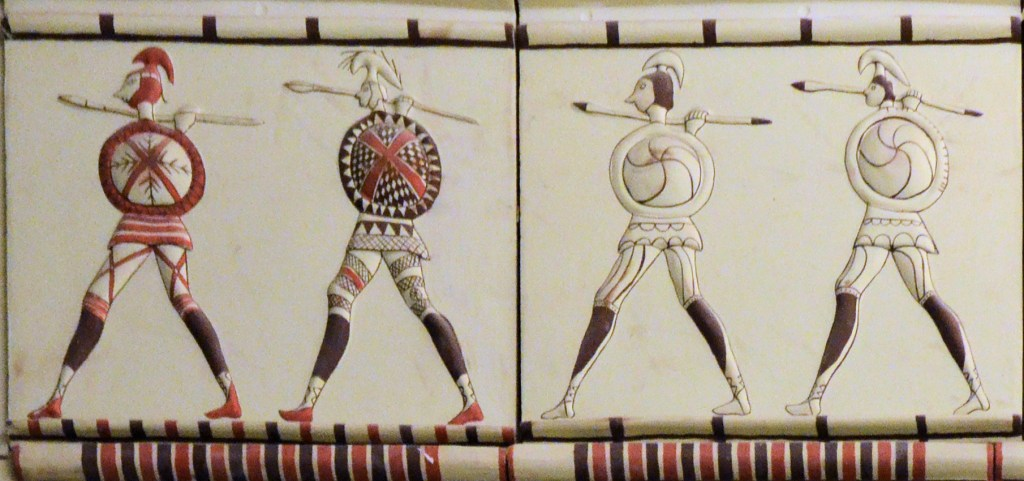 Phrygian soldiers. Detail from a reconstruction of a Phrygian building at Pararli, Turkey, 7th–6th Centuries BC