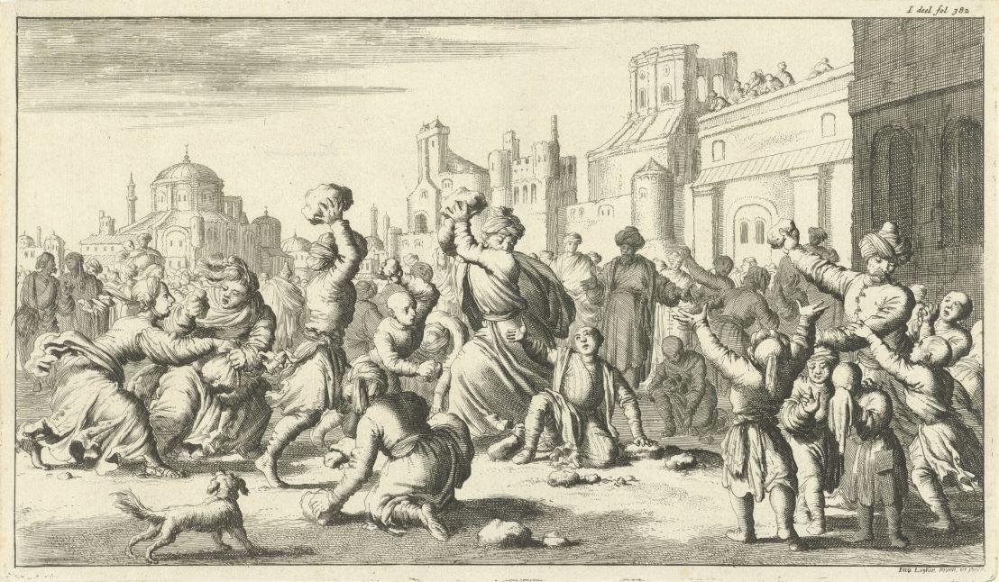 Turks stoning an Armenian boy, by Jan Luyken, 1682