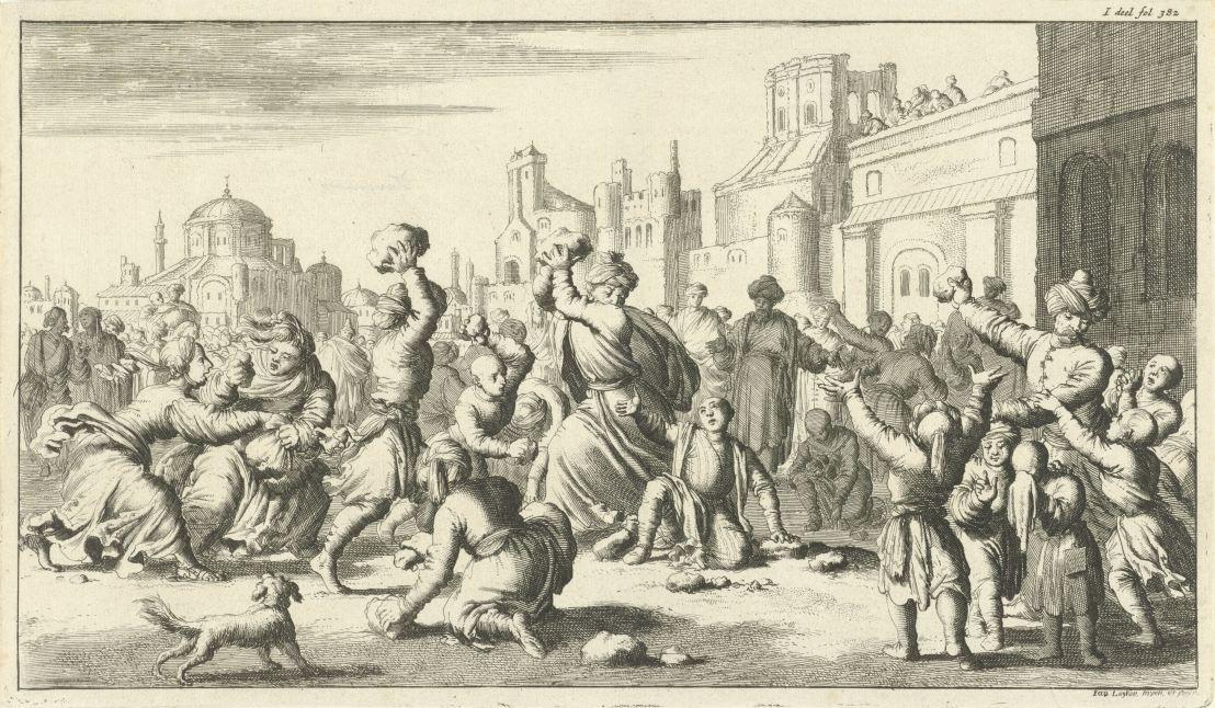 Turks stoning an Armenian boy, by Jan Luyken, 1682