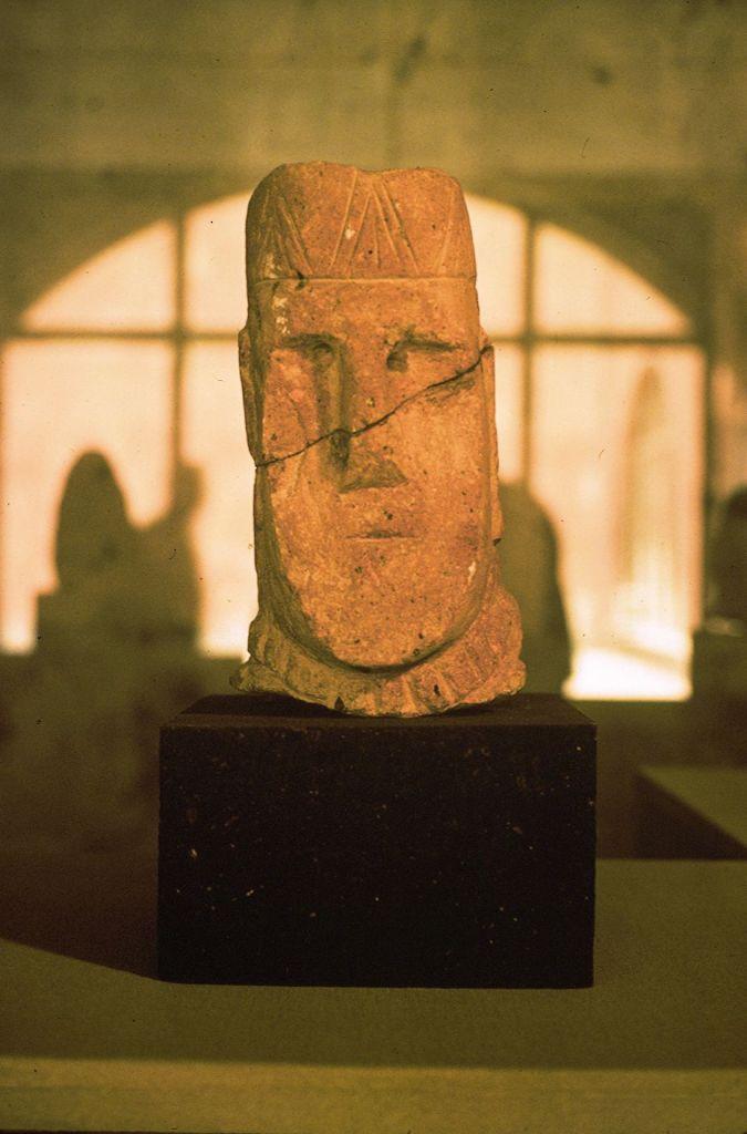 Stone head with Armenian tiara, ca. first century A.D., from Dvin, Sardarapat Museum. Photo Dickran Kouymjian