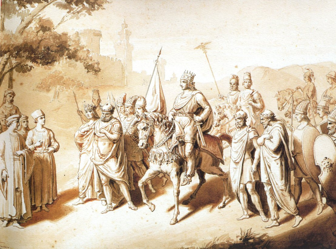 Tigranes and four vassal Kings, Armenian History in Italian Art, 19th century illustration by Fusso