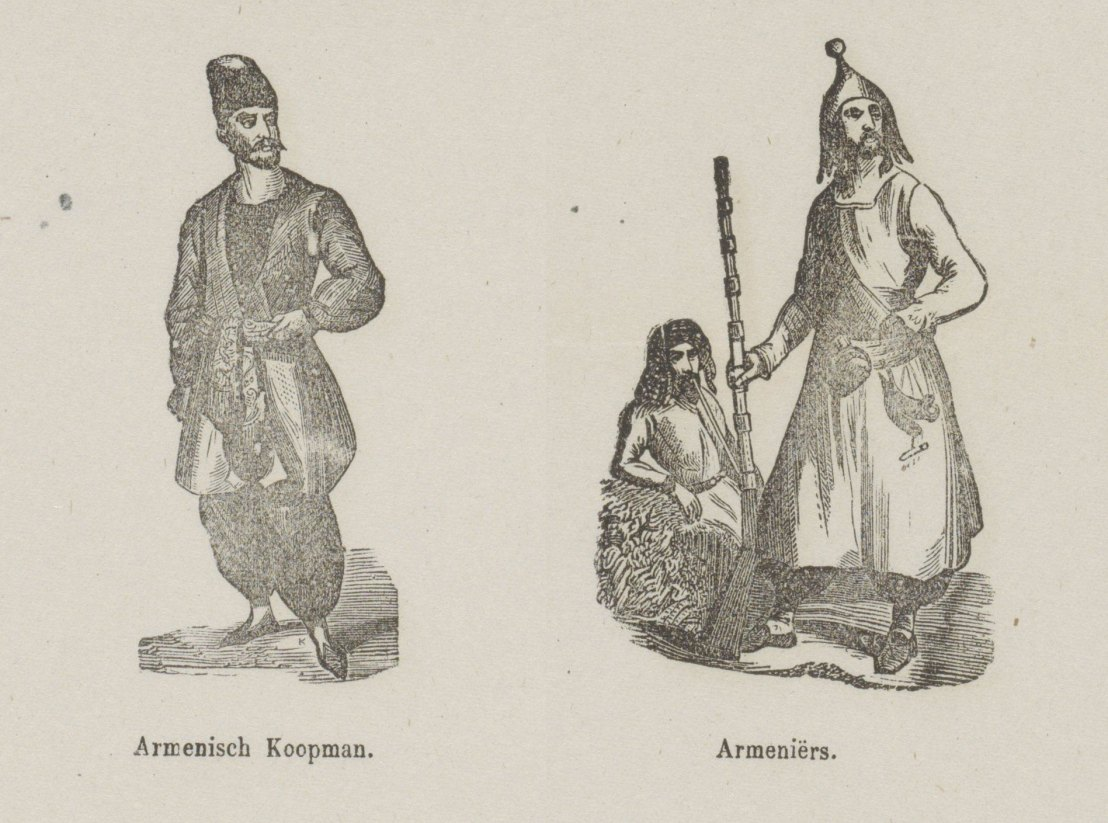 See here, oh dear children! People from the far east in their garments, Armenian merchant and other Armenians. For your pleasure, Lutkie & Cranenburg, 1848.