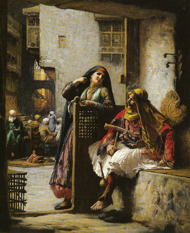 Almeh Flirting with an Armenian Policeman, Cairo by Frederick Arthur Bridgman