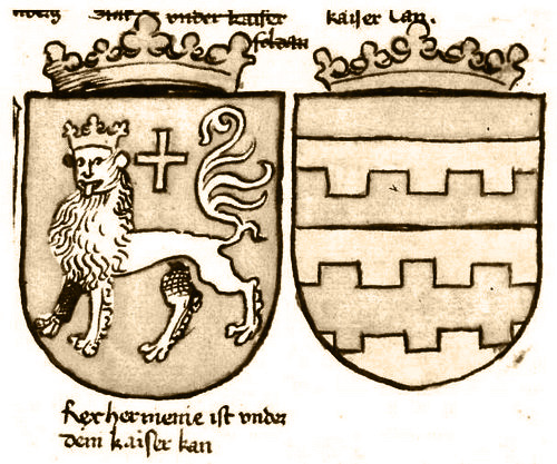 Coat of arms titled Rex hermenie in Richenthal, depicting the coat of arms of the king of Lesser Armenia. Illustrated by the master Miltenberger.