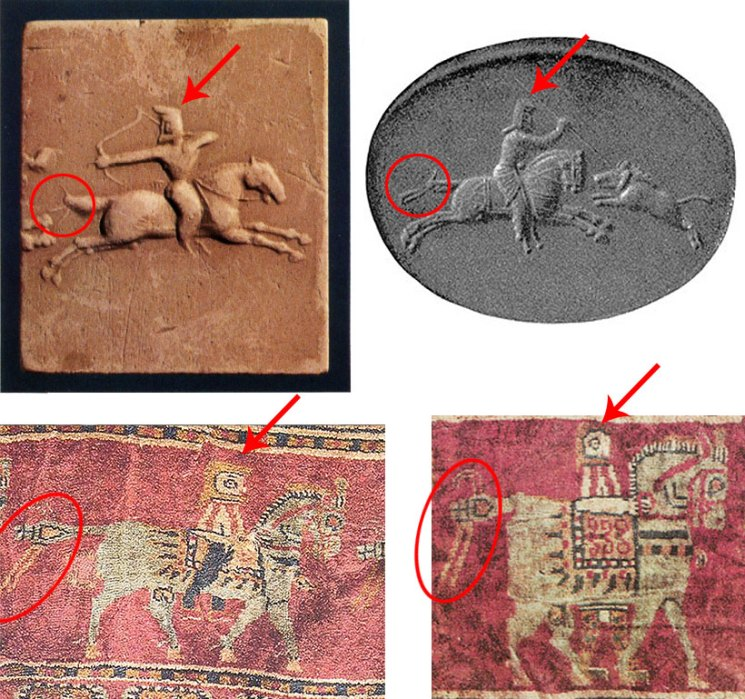 comparison-Urartu-seals-and-Pazyryk-carpet-horsemen