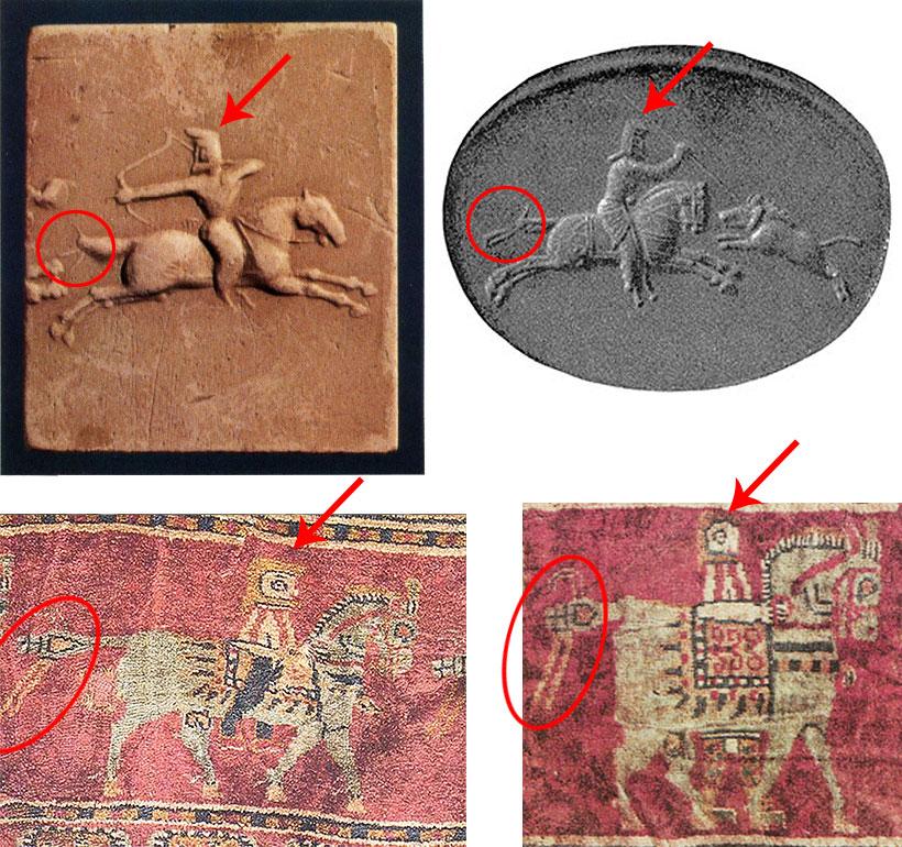 comparison-Urartu-seals-and-Pazyryk-carpet-horsemen