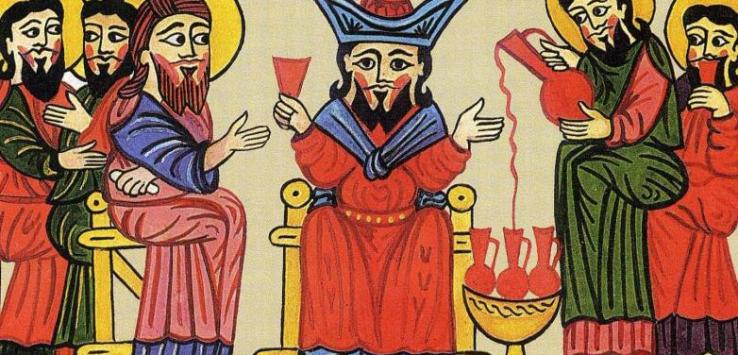 Drinking Armenian wine - gospel Akhtamar 1391