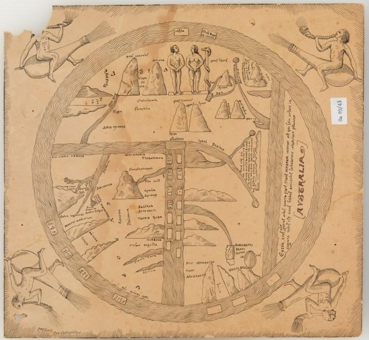 Eden in Armenia 8th century world map from Turin
