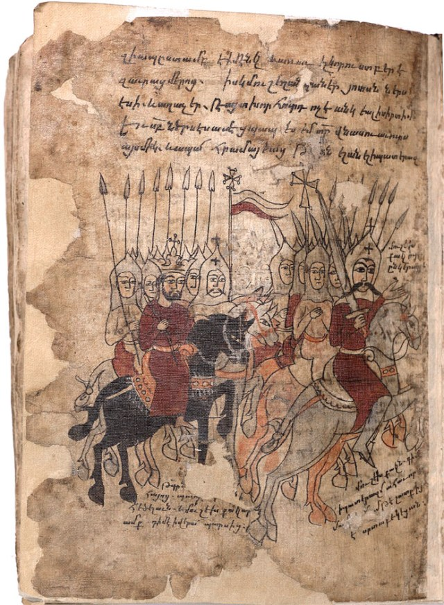 """General (Sparapet) Mushegh Mamikonian (right), the King Pap and Armenian cavalry soldiers; """"Azat"""" (azatagund) on the miniature illustrating the great victory at Dzirav over the Persian army of Shapukh II (371 A.D.). Miniature from the 16th century."""