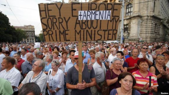 Thousands of people protested against Hungary's decision to extradite Ramil Safarov 09-05-2012