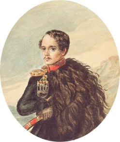 Lermantov's self-portrait with a dagger crafted by Geurk.