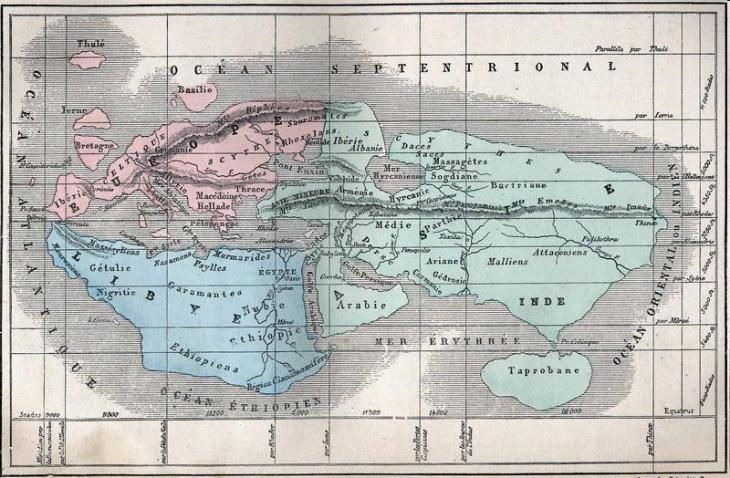 Map according to Eratosthenes 276 - 194 BC., reproduced by A. Villemin in Earth and seas, or physical description of the world L. Figuier, Paris, Librairie Hachette, 1884