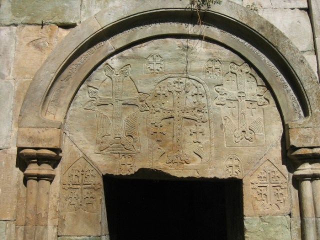 Nor Varagavank monastery (12th century), with Jerusalem crosses carved on the entrace