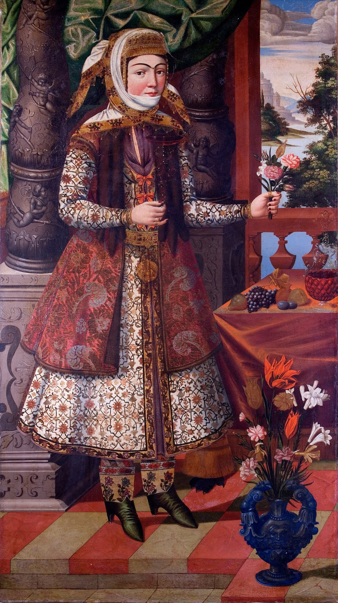 Portrait of an Armenian-girl from Iran, late 17th century. From the Museum of Islamic Art, Qatar