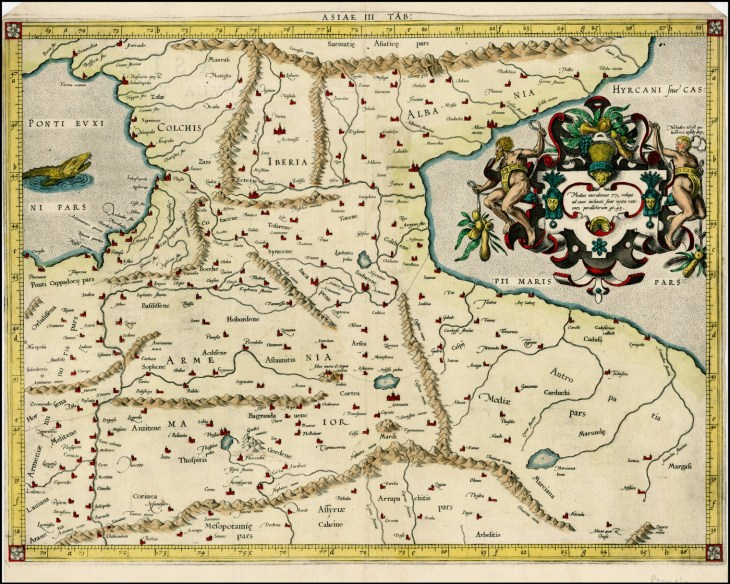 Map of Armenia Major, Colchis, Iberia, Albania -1579