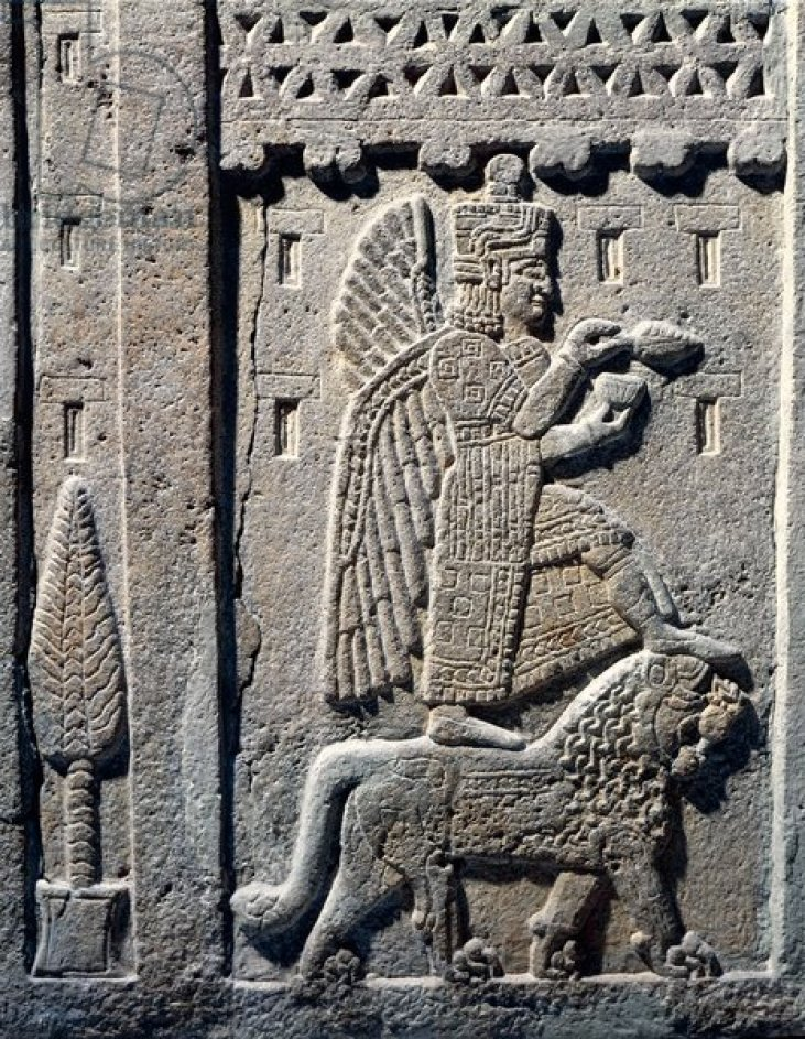 Relief depicting a winged god stepping on a lion from the kingdom of Urartu, Armenia, Hittite civilization