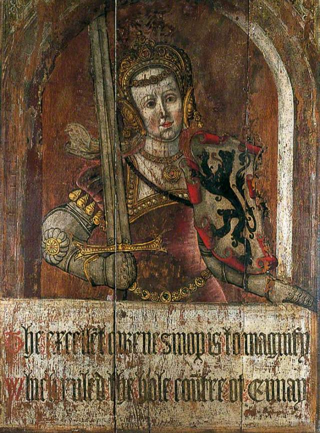 Sinope, Queen of Armenia - Lambert Barnard 1526, Oil & tempera on wood panel. From the Amberley Castle 'Heroines of Antiquity'