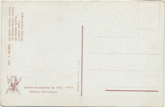 The Martyred nation Armenia - postcard from 1914 (backside)