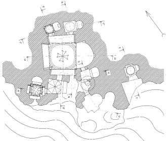 The plan of Tzarakar Monastery and the mountain facade overlooking the south measurement and graphical design by architect Ashot Hakobian, 2010