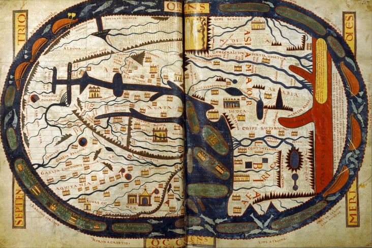 The world map from the Saint-Sever Beatus painted c. 1050 A.D. as an illustration to Beatus's work at the Abbey of Saint-Sever in Aquitaine