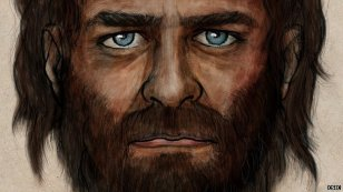 This reconstruction shows the dark skin and blue eyes of a 7,000-year-old hunter from northern Spain