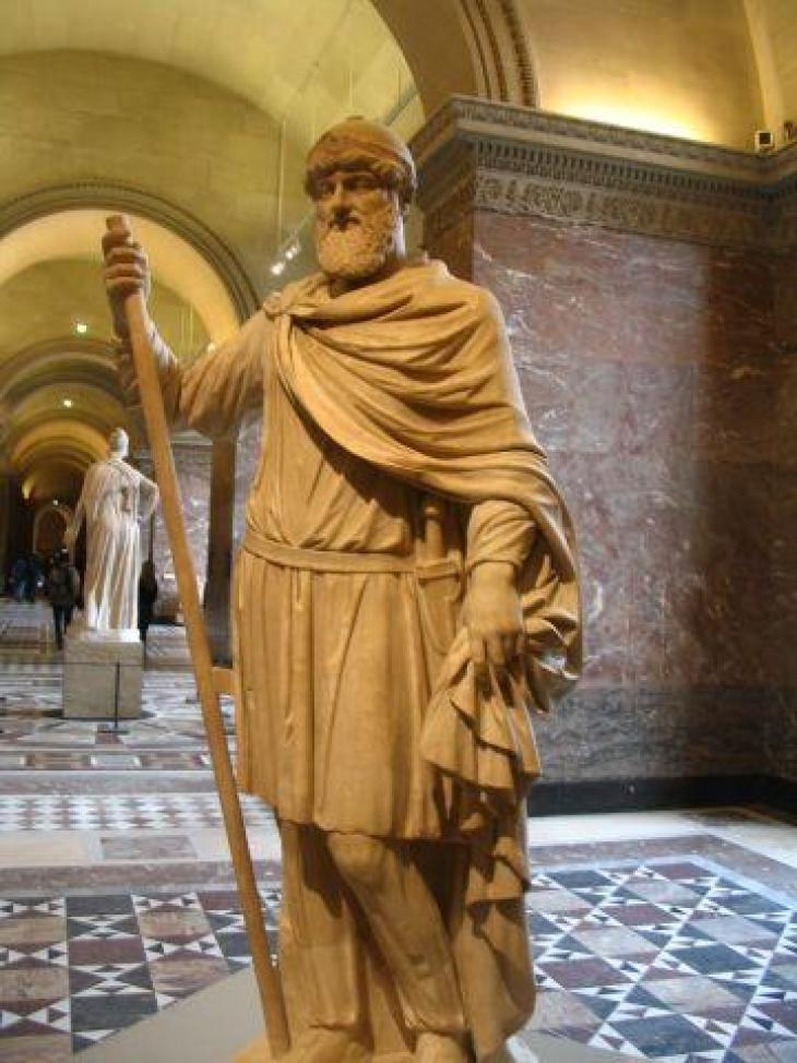 Statue of Tiridat I of Armenia, erected in Rome in his honor by Emperor Nero in 66 CE (now in Louvre, Paris)