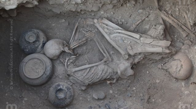 9th century BC. Urartu burial in Karmir Blur Armenia