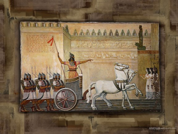 Painting of Armenian chariot of Araratian (Urartian) period. From ArmenianWallpapers.com