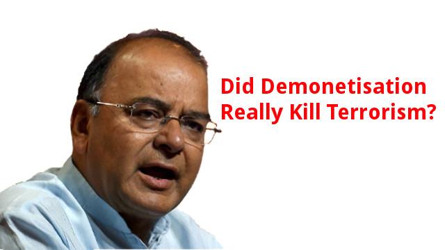 Arun Jaitley claims demonetisation reduced terrorism