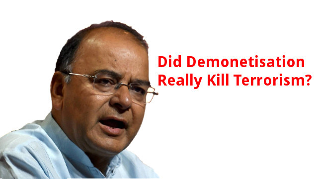Arun Jaitley claims demonetisation reduced terrorism