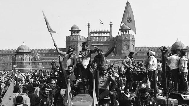 Nishan Sahib—the Khalsa flag—over India's Red Fort on Republic Day