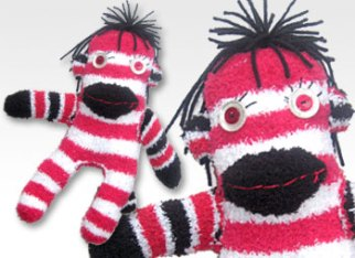 Red & White Stripe One-of-a-Kind UPcycled Sock Monkey   © Pepe & Sherina Designs™