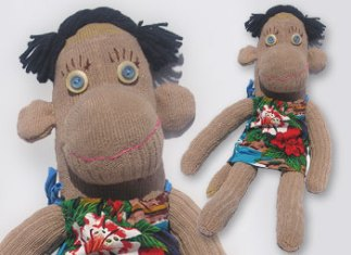 Waiki-key One-of-a-Kind UPcycled Sock Monkey   © Pepe & Sherina Designs™