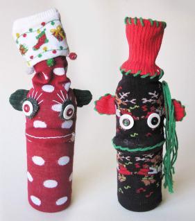 Holiday UPcycled Sock Monkey Wine Bottle Covers | © Pepe & Sherina Designs™
