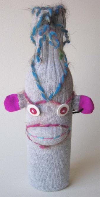 UPcycled Sock Monkey Wine Bottle Cover | © Pepe & Sherina Designs™