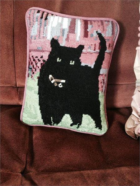 Needlepoint Canvas Black Cat