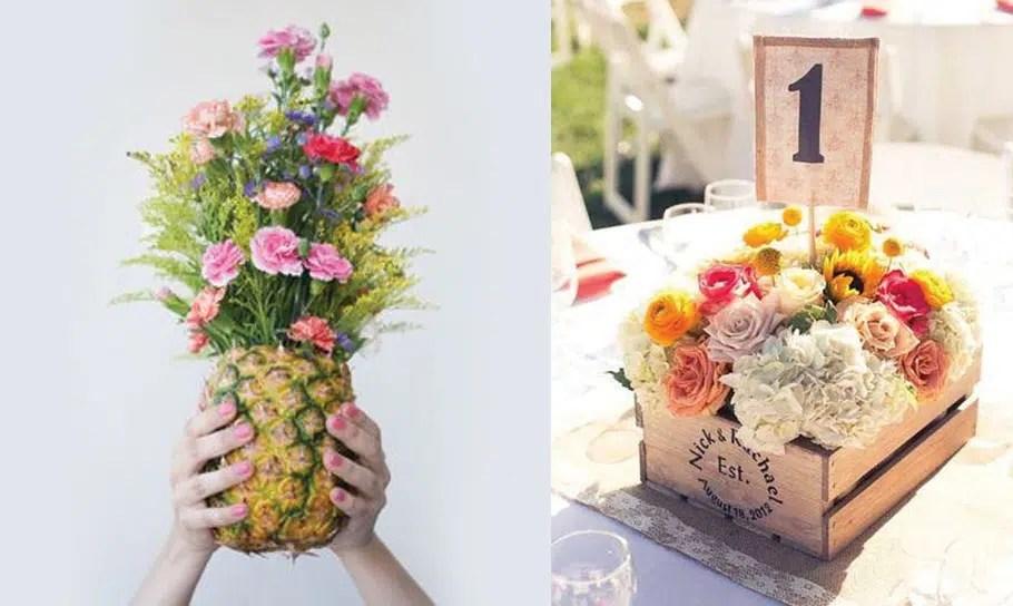 idees decoration de mariage ananas et fleurs boite en bois vinatge decoration de mariage