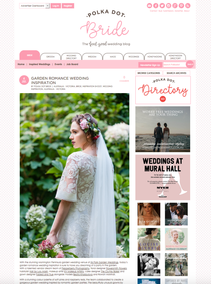 Pepperberry Photography styled shoot featured on Polka Dot Bride.