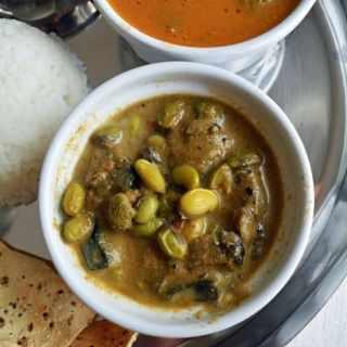 Kathirikai Mochai Kootu-Eggplant and Papdi Lilva Beans Recipe
